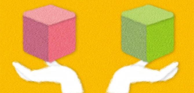 2つの手法を比べるイメージ