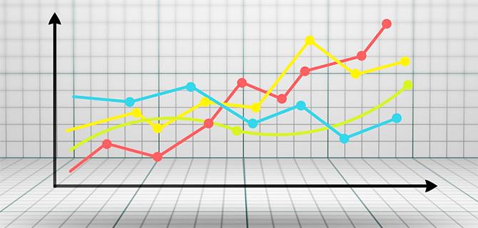 カラフルな折れ線フラフ